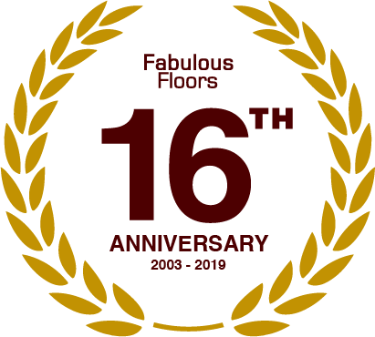 A badge commemorating fabulous floor's 16 years of wood floor refinishing here in Atlanta, GA