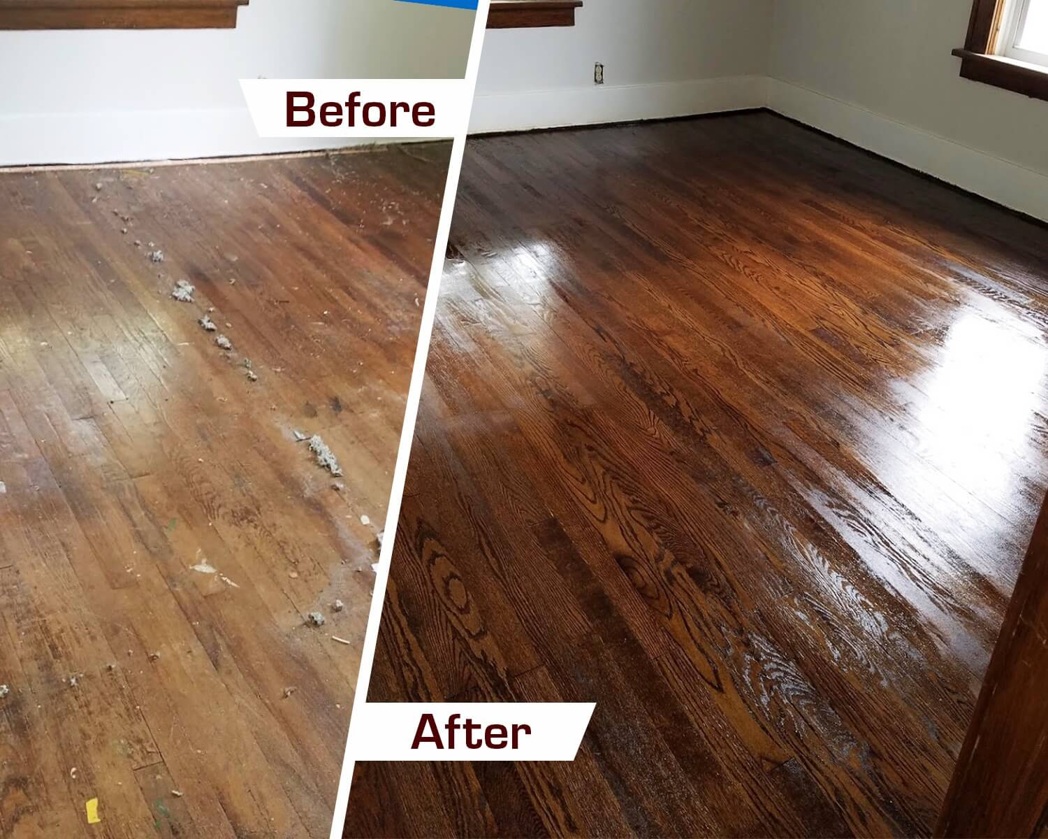 Before and After wood floor refinishing Atlanta, GA