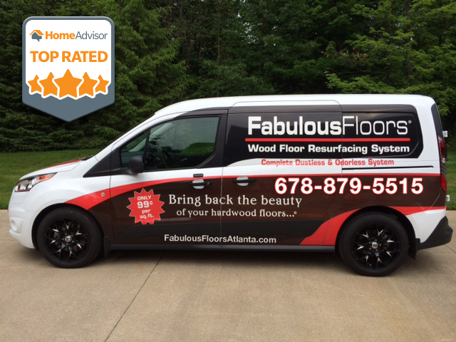 The Fabulous Floors Atlanta van parked outside of our office.