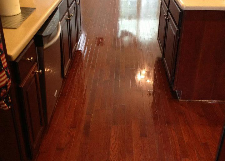 freshly refinished hardwood floor