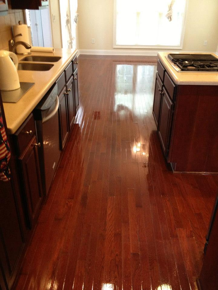 A recently refinished hardwood floor in an Atlanta home
