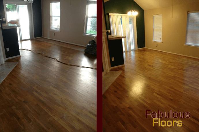 before and after hardwood floor refinishing in Atlanta, GA